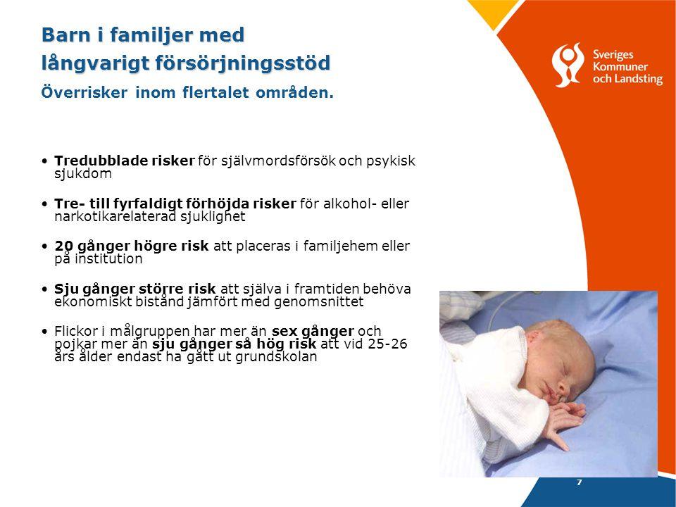 7 Barn i familjer med långvarigt försörjningsstöd Barn i familjer med långvarigt försörjningsstöd Överrisker inom flertalet områden.