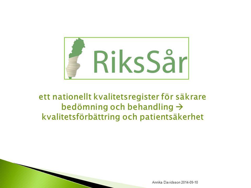 ett nationellt kvalitetsregister för säkrare bedömning och behandling  kvalitetsförbättring och patientsäkerhet Annika Davidsson 2014-09-10