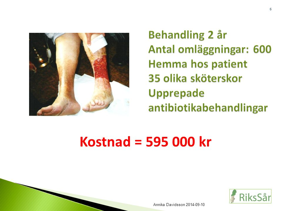 6 Behandling 2 år Antal omläggningar: 600 Hemma hos patient 35 olika sköterskor Upprepade antibiotikabehandlingar Kostnad = 595 000 kr Annika Davidsso