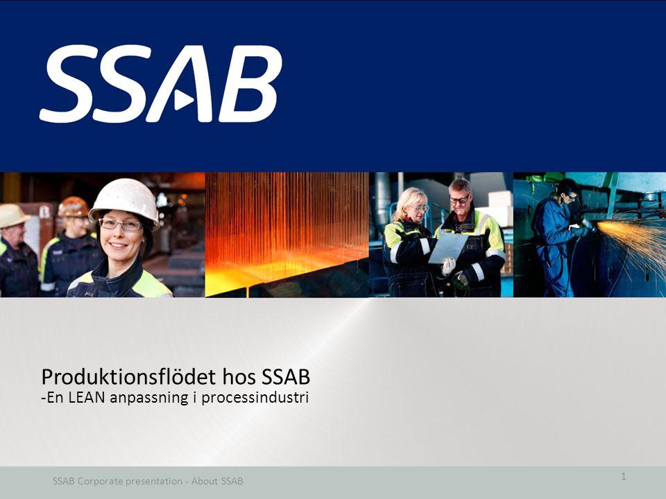 Produktionsflödet hos SSAB -En LEAN anpassning i processindustri SSAB Corporate presentation - About SSAB 1