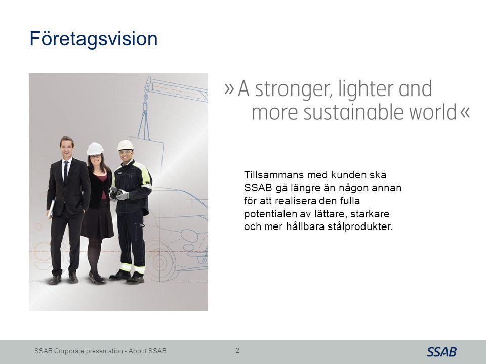 Grid SSAB Corporate presentation - About SSAB 2 Tillsammans med kunden ska SSAB gå längre än någon annan för att realisera den fulla potentialen av lä