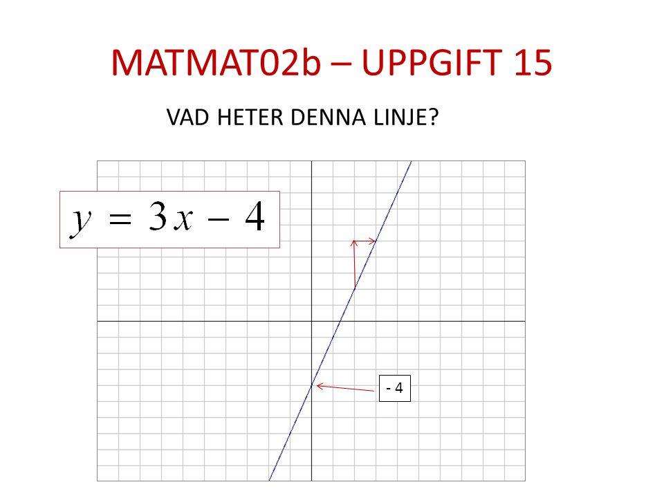 MATMAT02b – UPPGIFT 15 - 4 VAD HETER DENNA LINJE?