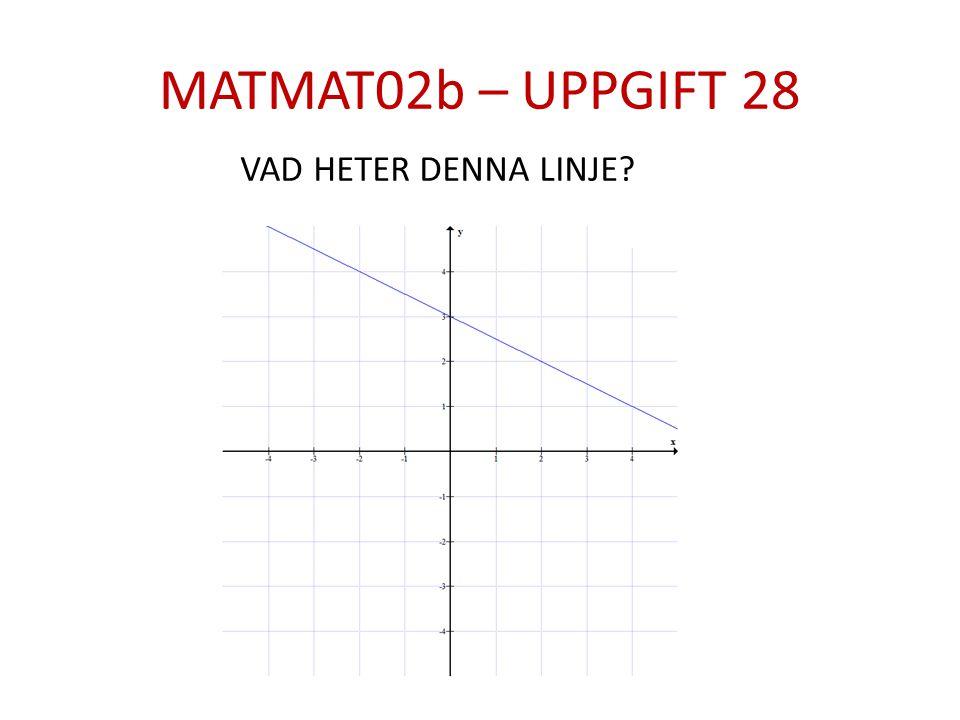MATMAT02b – UPPGIFT 28 VAD HETER DENNA LINJE?