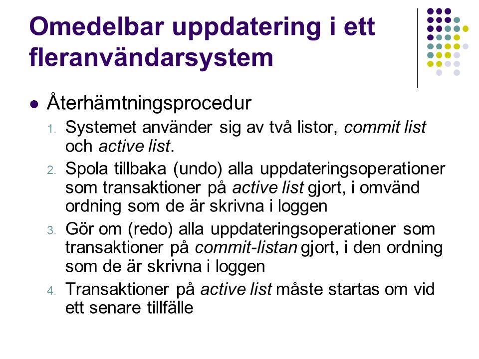 Omedelbar uppdatering i ett fleranvändarsystem Återhämtningsprocedur 1. Systemet använder sig av två listor, commit list och active list. 2. Spola til