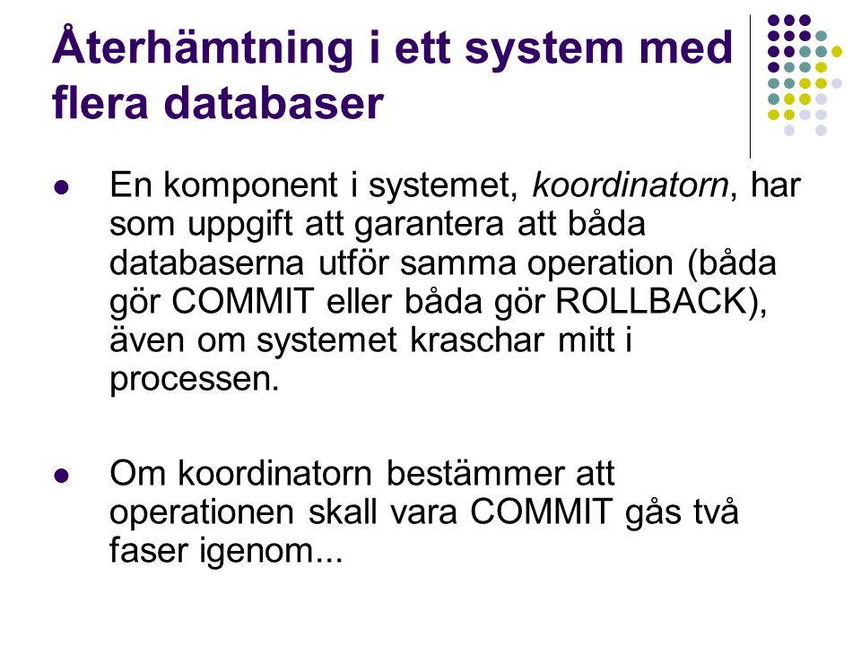 Återhämtning i ett system med flera databaser En komponent i systemet, koordinatorn, har som uppgift att garantera att båda databaserna utför samma op