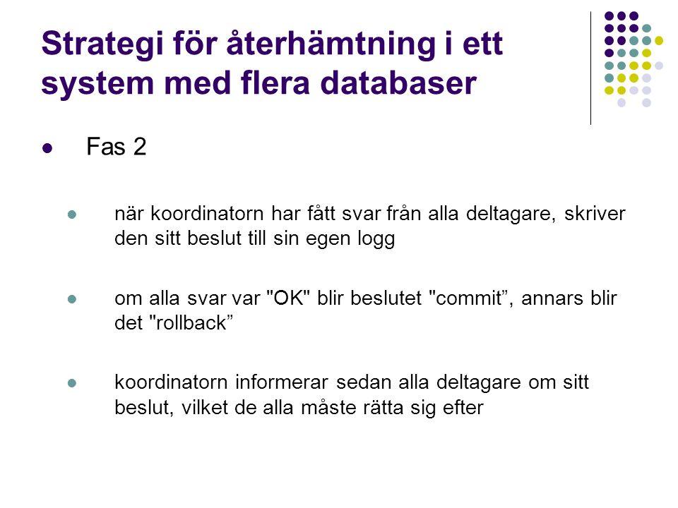 Strategi för återhämtning i ett system med flera databaser Fas 2 när koordinatorn har fått svar från alla deltagare, skriver den sitt beslut till sin