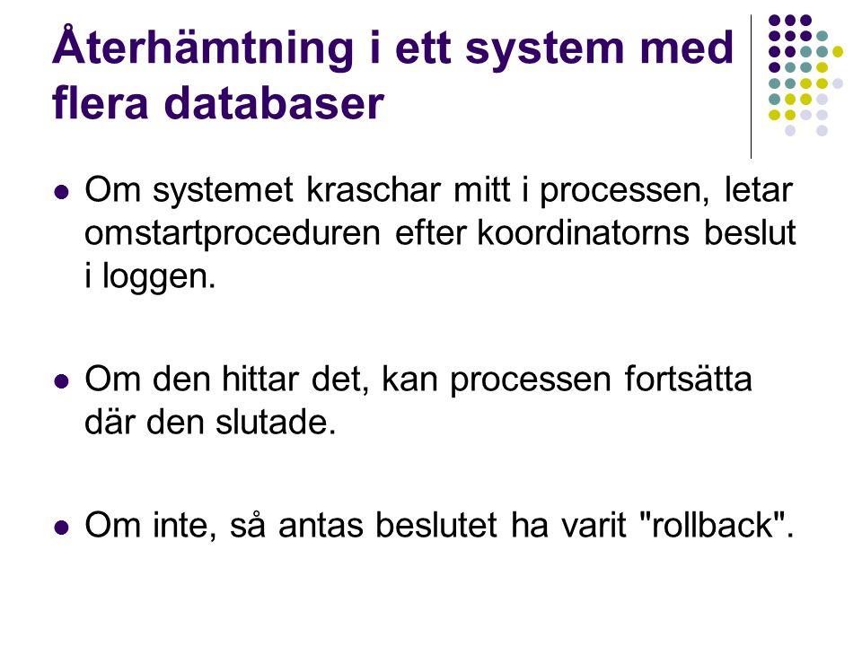 Återhämtning i ett system med flera databaser Om systemet kraschar mitt i processen, letar omstartproceduren efter koordinatorns beslut i loggen. Om d