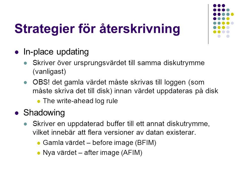 Strategier för återskrivning In-place updating Skriver över ursprungsvärdet till samma diskutrymme (vanligast) OBS! det gamla värdet måste skrivas til