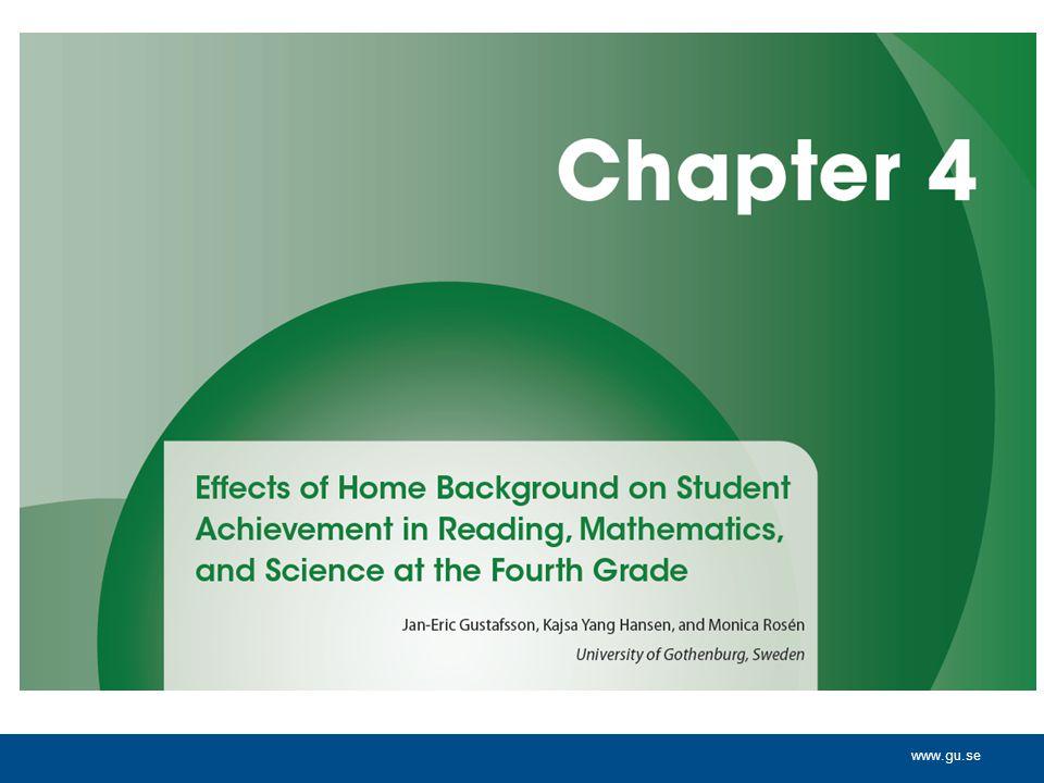 Frågor Hur påverkar elevers sociala bakgrund och kön deras prestationer i läsning och matematik i åk 4 i olika länder.