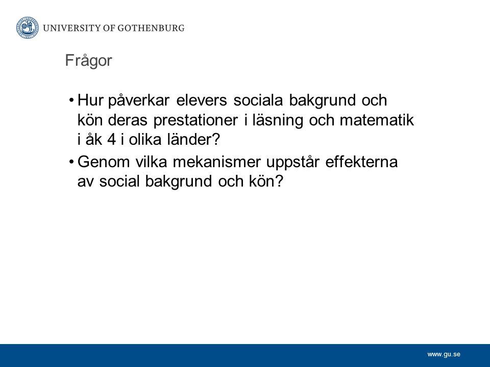 www.gu.se Social bakgrund och skolprestation En mycket stor mängd forskning har visat att elever vars föräldrar har hög utbildning, goda inkomster och yrken med hög status tenderar att ha goda skolprestationer.
