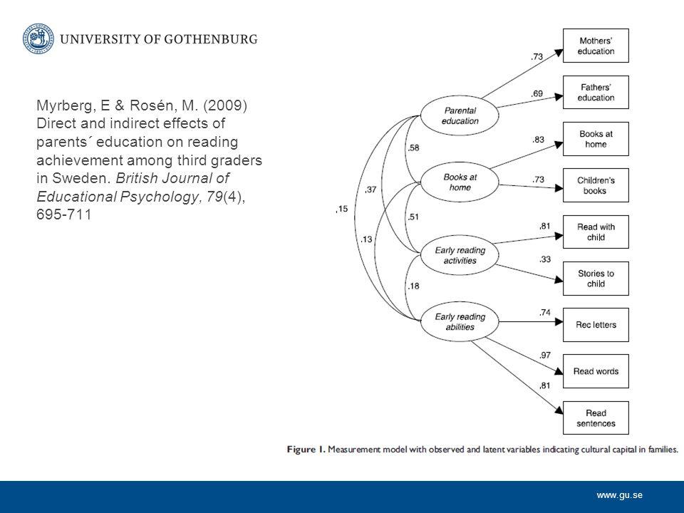 Modell för aktiviteter i hemmet Höga korrelationer mellan läs- och räkneorienterade aktiviteter Bi-faktor ansats: –En allmän aktivitetsvariabel som omfattar både läs- och räkneorienterade aktiviteter.