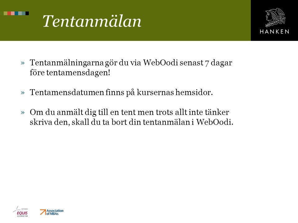 Tentanmälan »Tentanmälningarna gör du via WebOodi senast 7 dagar före tentamensdagen.