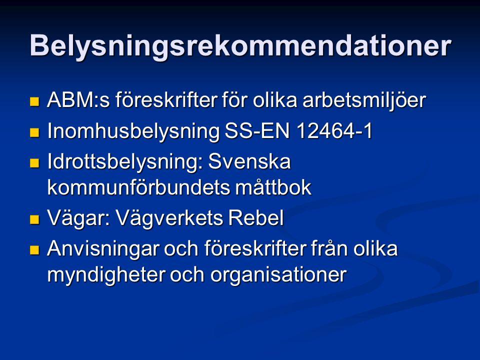 Belysningsrekommendationer ABM:s föreskrifter för olika arbetsmiljöer ABM:s föreskrifter för olika arbetsmiljöer Inomhusbelysning SS-EN 12464-1 Inomhu