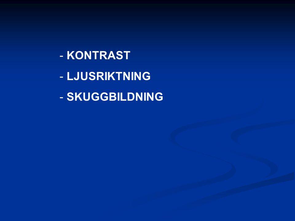 - KONTRAST - LJUSRIKTNING - SKUGGBILDNING