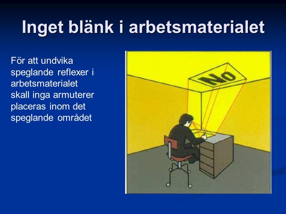 Inget blänk i arbetsmaterialet För att undvika speglande reflexer i arbetsmaterialet skall inga armuterer placeras inom det speglande området