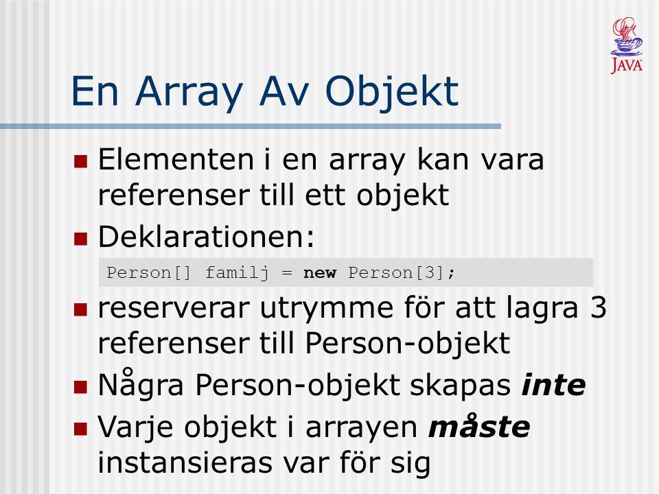 En Array Av Objekt Elementen i en array kan vara referenser till ett objekt Deklarationen: Person[] familj = new Person[3]; reserverar utrymme för att