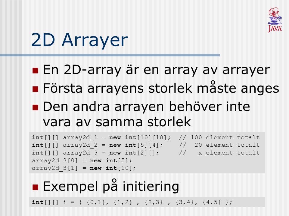 2D Arrayer En 2D-array är en array av arrayer Första arrayens storlek måste anges Den andra arrayen behöver inte vara av samma storlek int[][] array2d