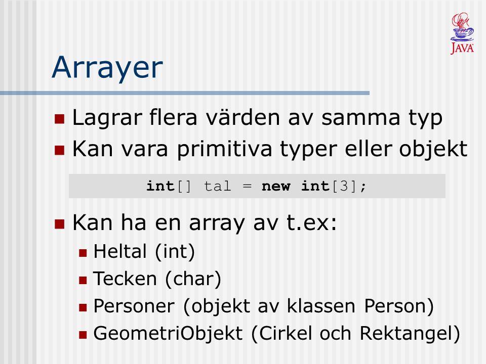 Lagrar flera värden av samma typ Kan vara primitiva typer eller objekt Kan ha en array av t.ex: Heltal (int) Tecken (char) Personer (objekt av klassen