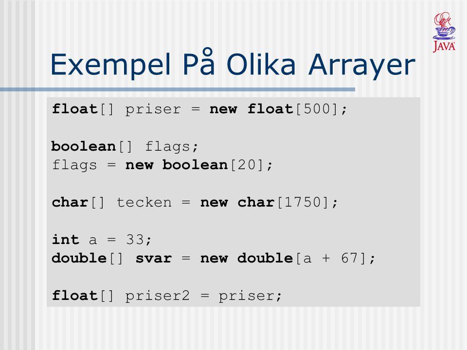Exempel På Olika Arrayer float[] priser = new float[500]; boolean[] flags; flags = new boolean[20]; char[] tecken = new char[1750]; int a = 33; double