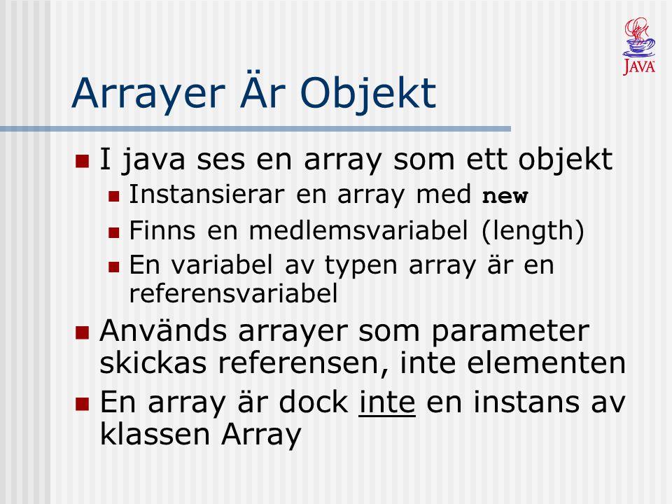 Arrayer Är Objekt I java ses en array som ett objekt Instansierar en array med new Finns en medlemsvariabel (length) En variabel av typen array är en