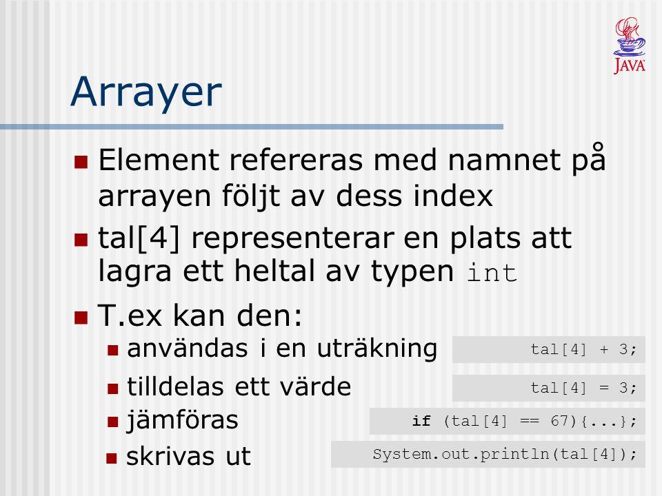 Arrayer Element refereras med namnet på arrayen följt av dess index tal[4] representerar en plats att lagra ett heltal av typen int T.ex kan den: tal[