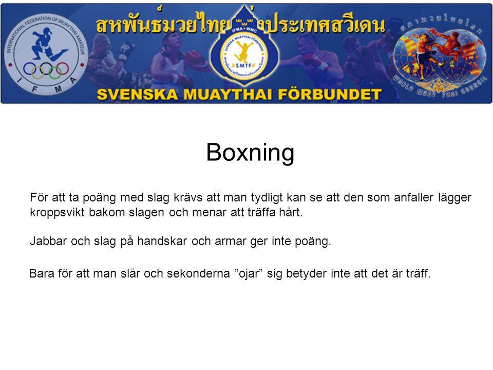 Boxning För att ta poäng med slag krävs att man tydligt kan se att den som anfaller lägger kroppsvikt bakom slagen och menar att träffa hårt.