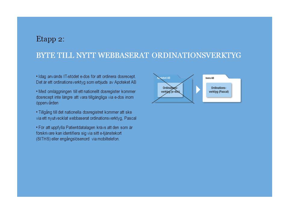 Etapp 2: BYTE TILL NYTT WEBBASERAT ORDINATIONSVERKTYG Idag används IT-stödet e-dos för att ordinera dosrecept. Det är ett ordinationsverktyg som erbju