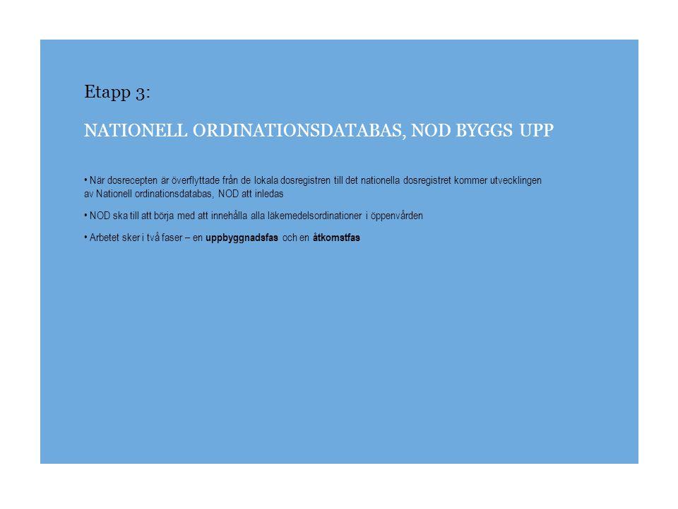 Etapp 3: NATIONELL ORDINATIONSDATABAS, NOD BYGGS UPP Uppbyggnadsfasen I den första fasen byggs NOD upp genom att databasen fylls med e-recept Under den perioden får dosordinationerna göras från det nya webbaserade ordinationsverktyget, Pascal