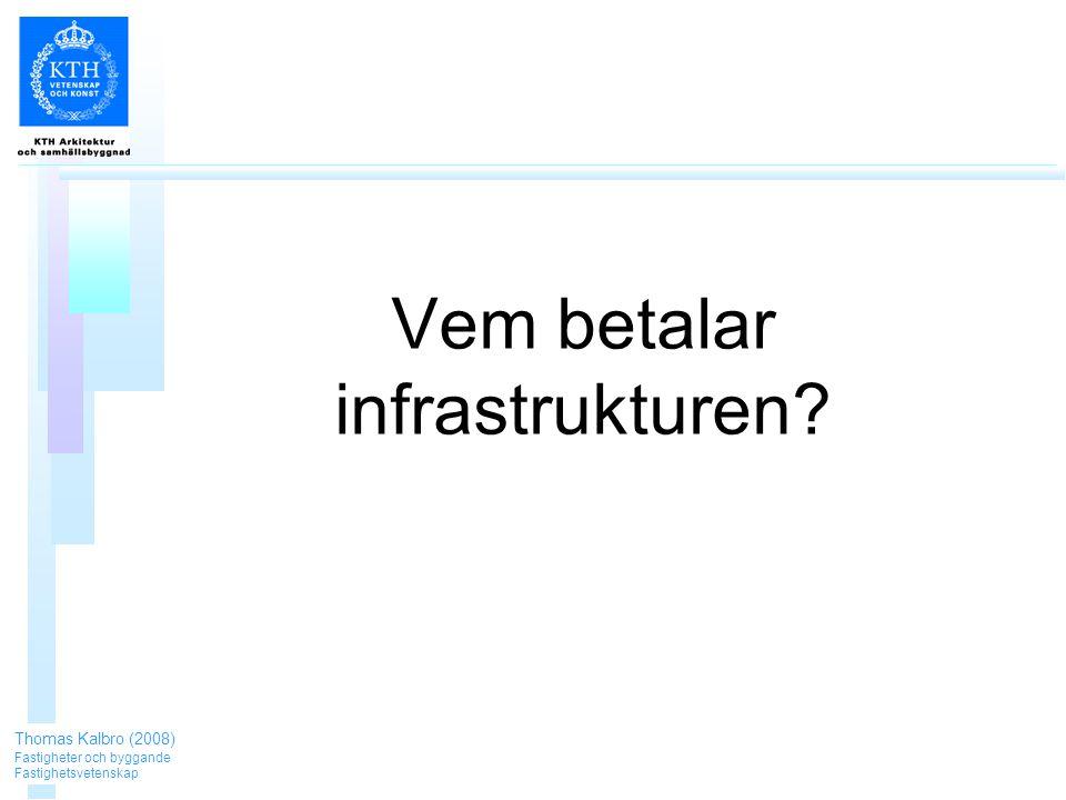 Vem betalar infrastrukturen Thomas Kalbro (2008) Fastigheter och byggande Fastighetsvetenskap