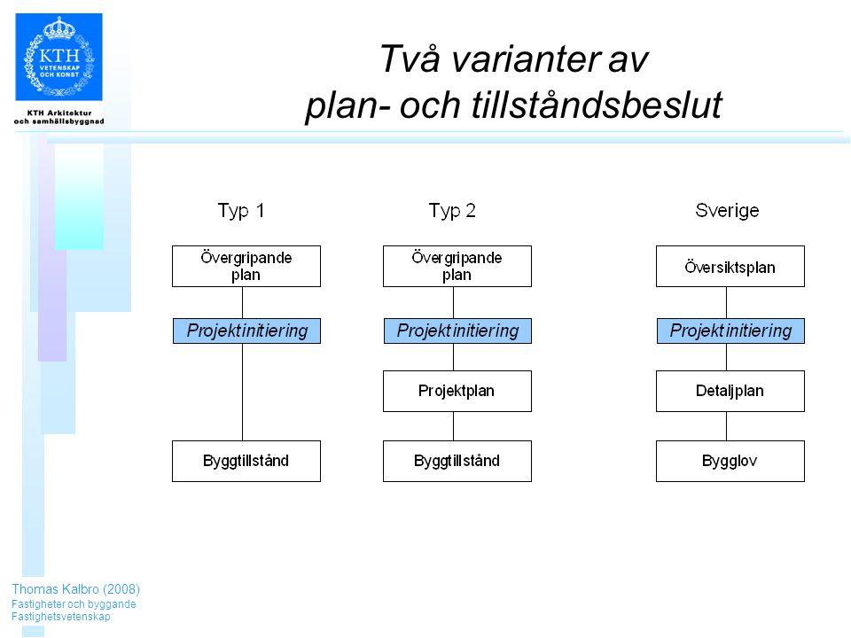 Två varianter av plan- och tillståndsbeslut Thomas Kalbro (2008) Fastigheter och byggande Fastighetsvetenskap