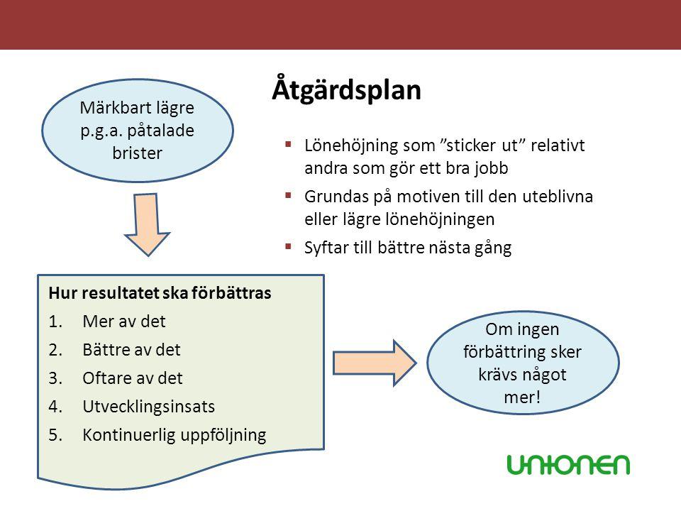 """Åtgärdsplan  Lönehöjning som """"sticker ut"""" relativt andra som gör ett bra jobb  Grundas på motiven till den uteblivna eller lägre lönehöjningen  Syf"""