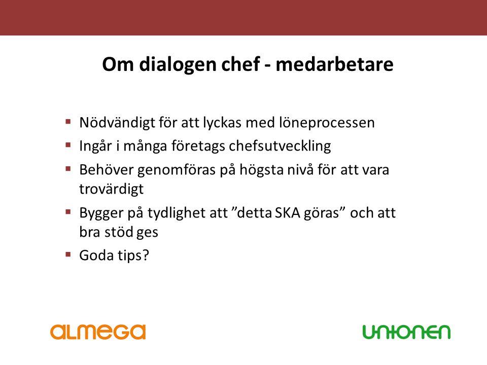 Om dialogen chef - medarbetare  Nödvändigt för att lyckas med löneprocessen  Ingår i många företags chefsutveckling  Behöver genomföras på högsta n