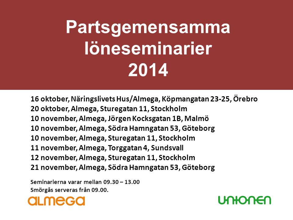 Partsgemensamma löneseminarier 2014 16 oktober, Näringslivets Hus/Almega, Köpmangatan 23-25, Örebro 20 oktober, Almega, Sturegatan 11, Stockholm 10 no