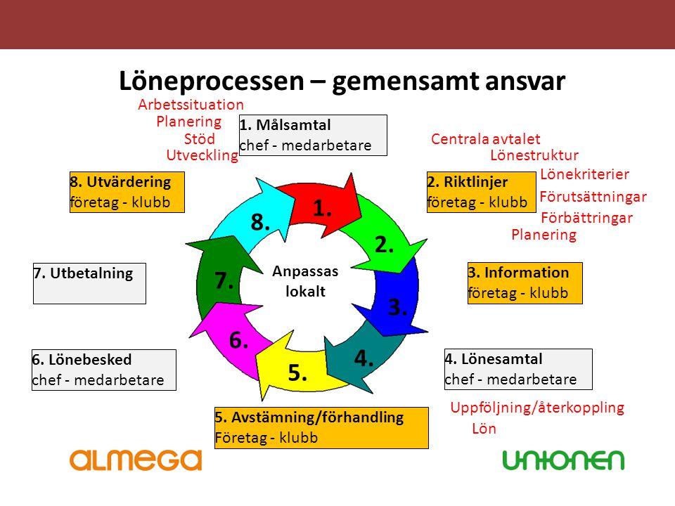 Löneprocessen – gemensamt ansvar 1. 2. 4. 3. 5. 6. 7. 8. 1. Målsamtal chef - medarbetare 2. Riktlinjer företag - klubb 3. Information företag - klubb