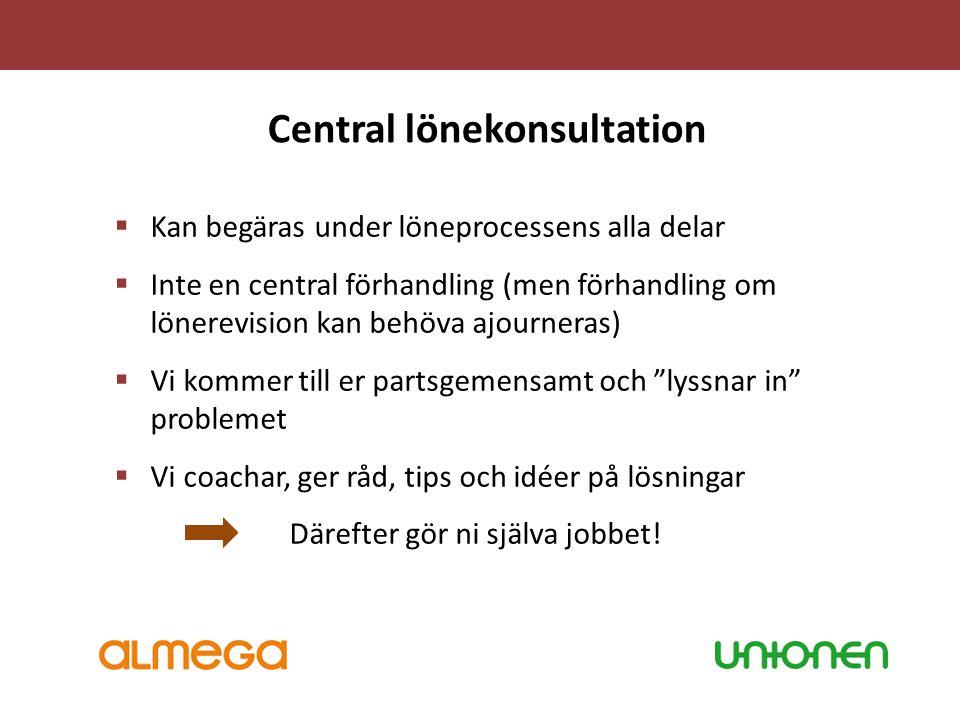 Central lönekonsultation  Kan begäras under löneprocessens alla delar  Inte en central förhandling (men förhandling om lönerevision kan behöva ajour