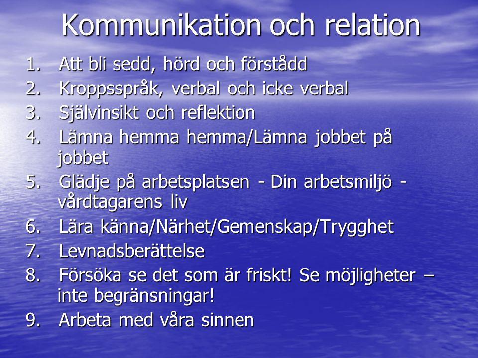 Kommunikation och relation 1.Att bli sedd, hörd och förstådd 2.