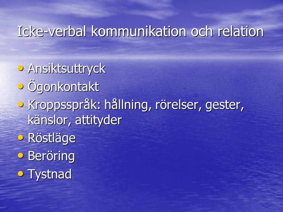 Icke-verbal kommunikation och relation Ansiktsuttryck Ansiktsuttryck Ögonkontakt Ögonkontakt Kroppsspråk: hållning, rörelser, gester, känslor, attityder Kroppsspråk: hållning, rörelser, gester, känslor, attityder Röstläge Röstläge Beröring Beröring Tystnad Tystnad
