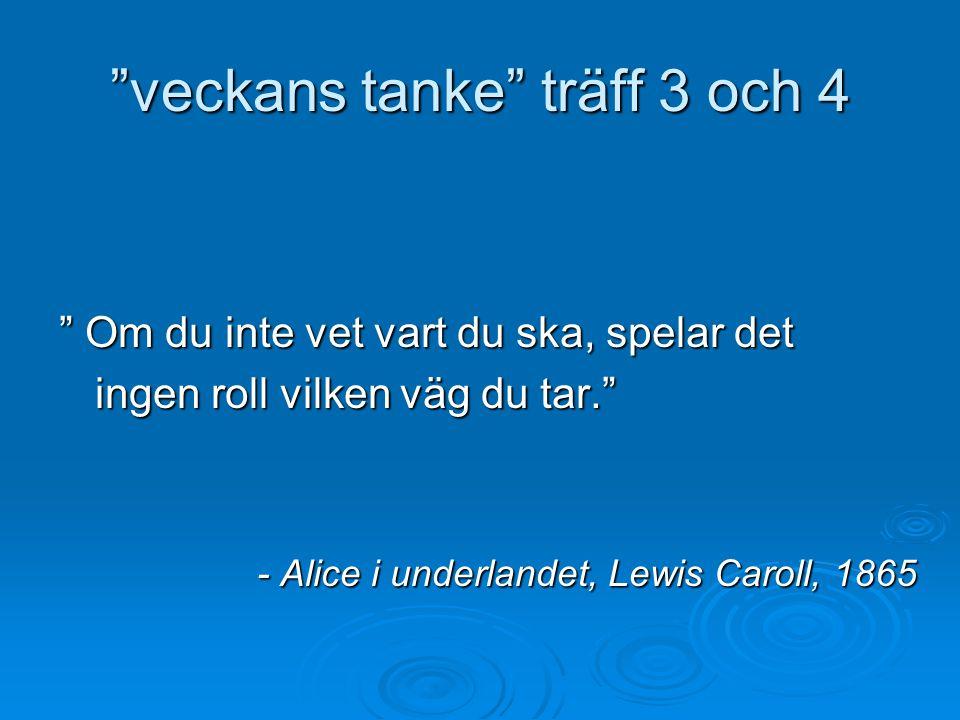 """""""veckans tanke"""" träff 3 och 4 """" Om du inte vet vart du ska, spelar det ingen roll vilken väg du tar."""" - Alice i underlandet, Lewis Caroll, 1865"""