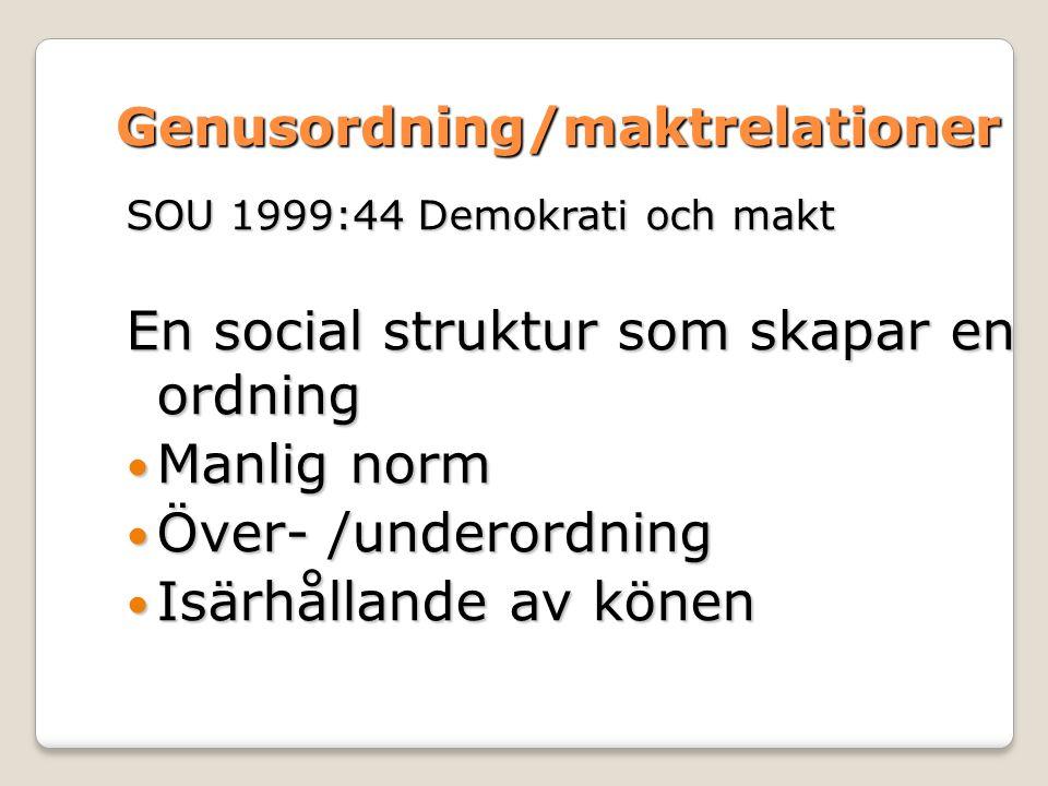 Genusordning/maktrelationer SOU 1999:44 Demokrati och makt En social struktur som skapar en ordning Manlig norm Manlig norm Över- /underordning Över- /underordning Isärhållande av könen Isärhållande av könen