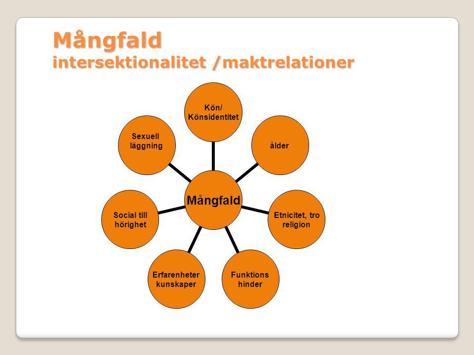 Mångfald Mångfald intersektionalitet /maktrelationer