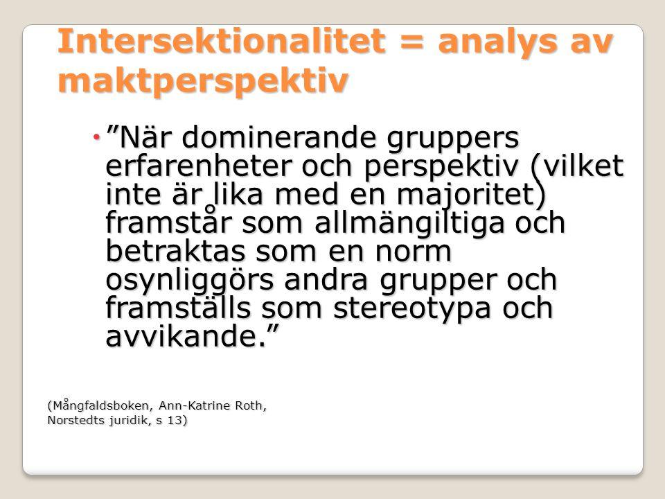 Intersektionalitet = analys av maktperspektiv  När dominerande gruppers erfarenheter och perspektiv (vilket inte är lika med en majoritet) framstår som allmängiltiga och betraktas som en norm osynliggörs andra grupper och framställs som stereotypa och avvikande. (Mångfaldsboken, Ann-Katrine Roth, Norstedts juridik, s 13)