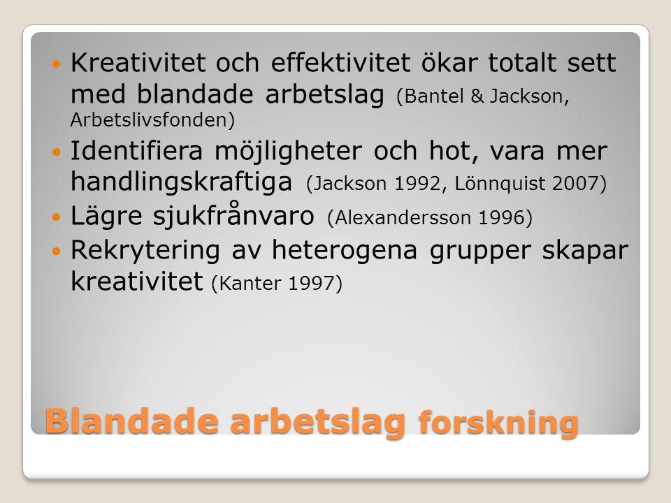 Blandade arbetslag forskning Kreativitet och effektivitet ökar totalt sett med blandade arbetslag (Bantel & Jackson, Arbetslivsfonden) Identifiera möjligheter och hot, vara mer handlingskraftiga (Jackson 1992, Lönnquist 2007) Lägre sjukfrånvaro (Alexandersson 1996) Rekrytering av heterogena grupper skapar kreativitet (Kanter 1997)