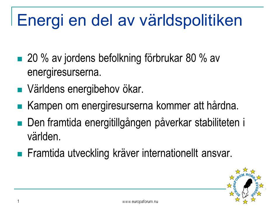 www.europaforum.nu 1 Energi en del av världspolitiken 20 % av jordens befolkning förbrukar 80 % av energiresurserna. Världens energibehov ökar. Kampen