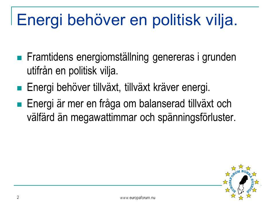 www.europaforum.nu 2 Energi behöver en politisk vilja.