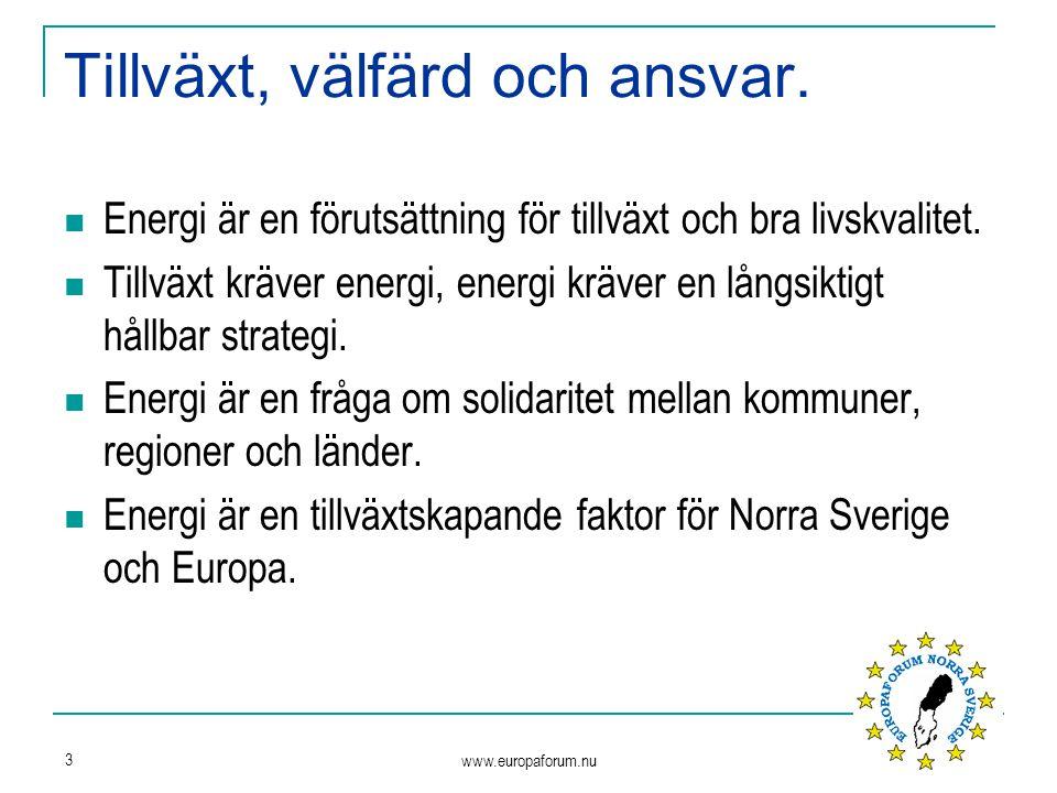 www.europaforum.nu 3 Tillväxt, välfärd och ansvar. Energi är en förutsättning för tillväxt och bra livskvalitet. Tillväxt kräver energi, energi kräver
