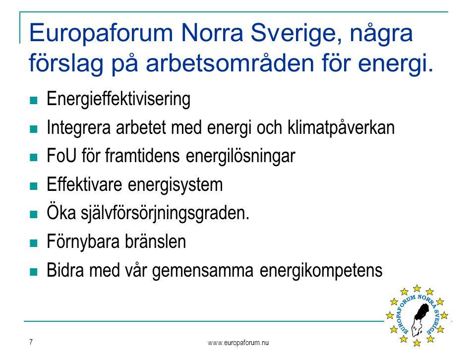 www.europaforum.nu 7 Europaforum Norra Sverige, några förslag på arbetsområden för energi. Energieffektivisering Integrera arbetet med energi och klim