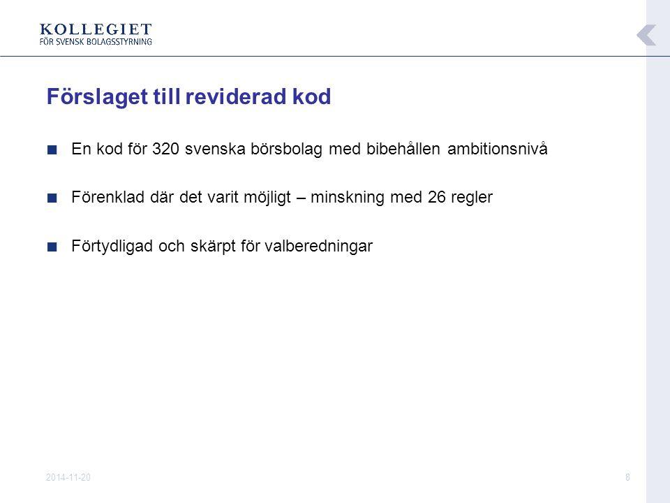 2014-11-208 Förslaget till reviderad kod ■ En kod för 320 svenska börsbolag med bibehållen ambitionsnivå ■ Förenklad där det varit möjligt – minskning med 26 regler ■ Förtydligad och skärpt för valberedningar