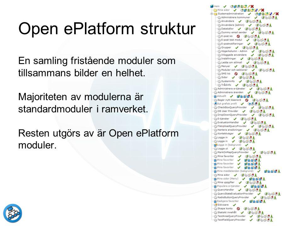 Open ePlatform struktur En samling fristående moduler som tillsammans bilder en helhet. Majoriteten av modulerna är standardmoduler i ramverket. Reste