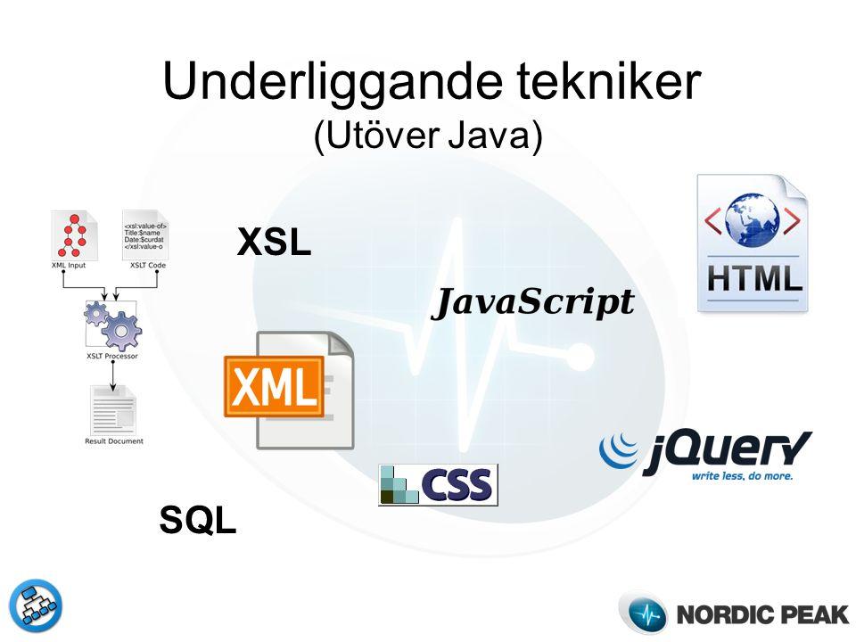 Underliggande tekniker (Utöver Java) XSL SQL
