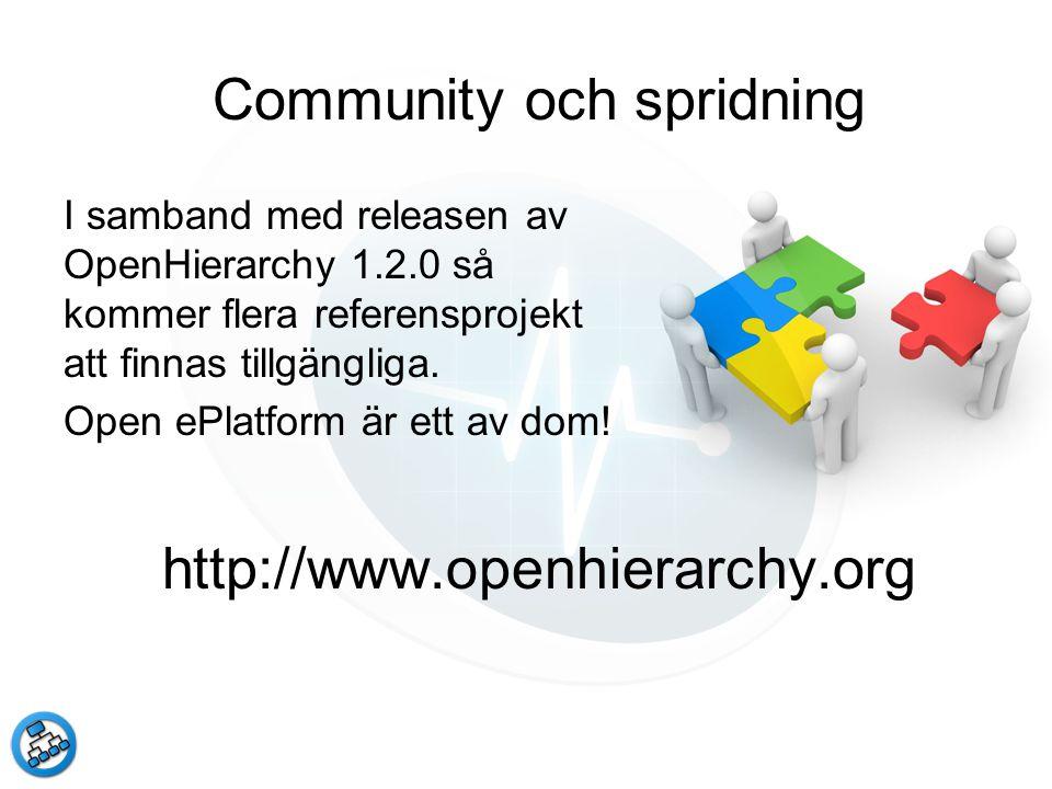 Community och spridning I samband med releasen av OpenHierarchy 1.2.0 så kommer flera referensprojekt att finnas tillgängliga. Open ePlatform är ett a